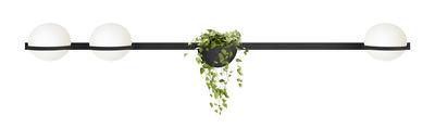 Applique Palma / Horizontale triple & jardinière - Vibia laqué graphite mat en métal