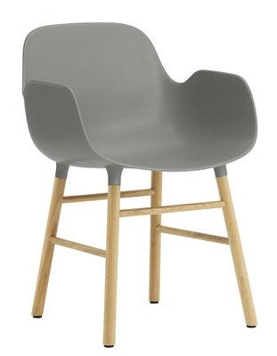 Furniture - Chairs - Form Armchair - Oak leg by Normann Copenhagen - Grey / oak - Oak, Polypropylene