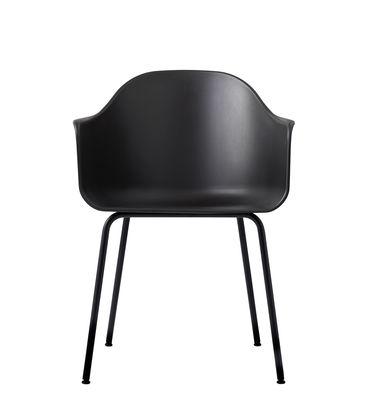 Furniture - Chairs - Harbour Armchair - / Polycarbonate - Steel legs by Menu - Black - Painted steel, Polycarbonate