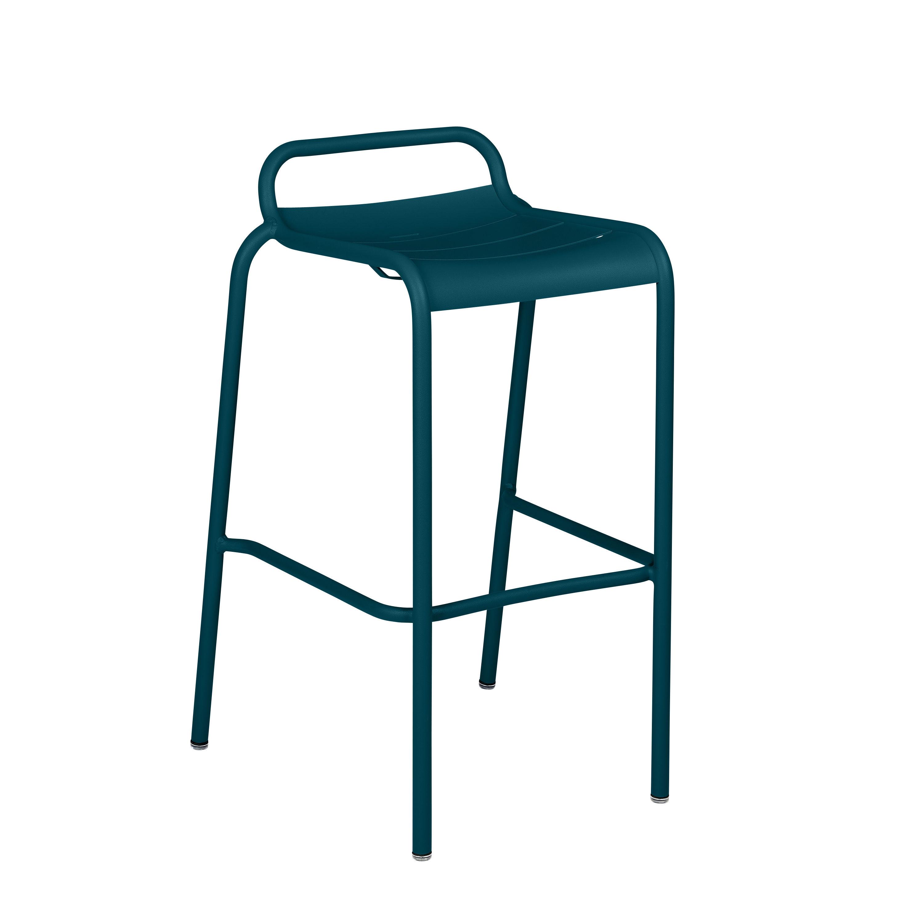 Möbel - Barhocker - Luxembourg Barhocker / Aluminium - H 78 cm - Fermob - Acapulcoblau - bemaltes Aluminium