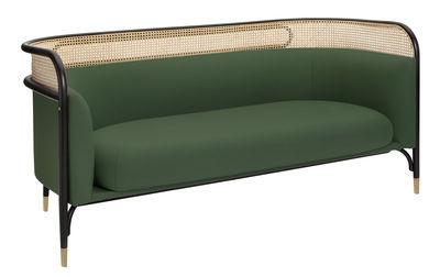 Canapé droit Targa L 160 cm Cannage tissu Wiener GTV Design noir,vert,laiton,paille naturelle en tissu