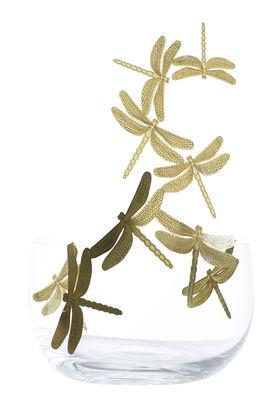 Centre de table Frutteti Libellules / Cristal & Laiton - Ø 21 cm - Opinion Ciatti or/transparent en métal/verre
