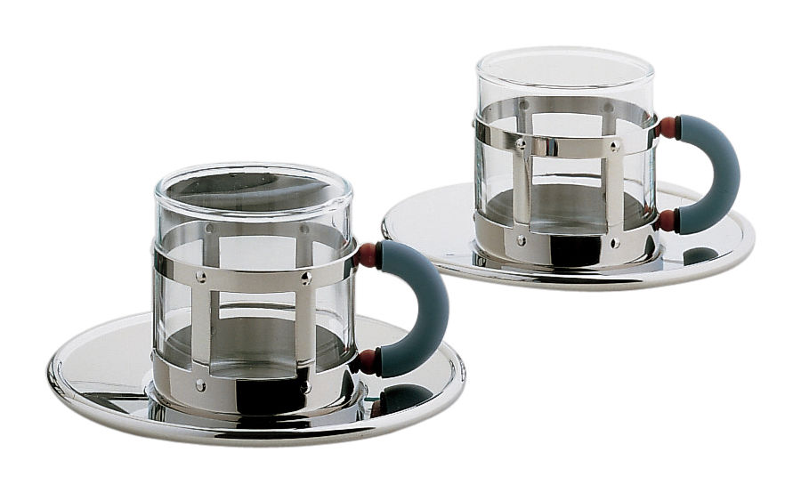 Tableware - Coffee Mugs & Tea Cups - Graves Coffee cup - Set of 2 cups + 2 saucers by Alessi - Mirror polished - Glass, Polyamide, Stainless steel