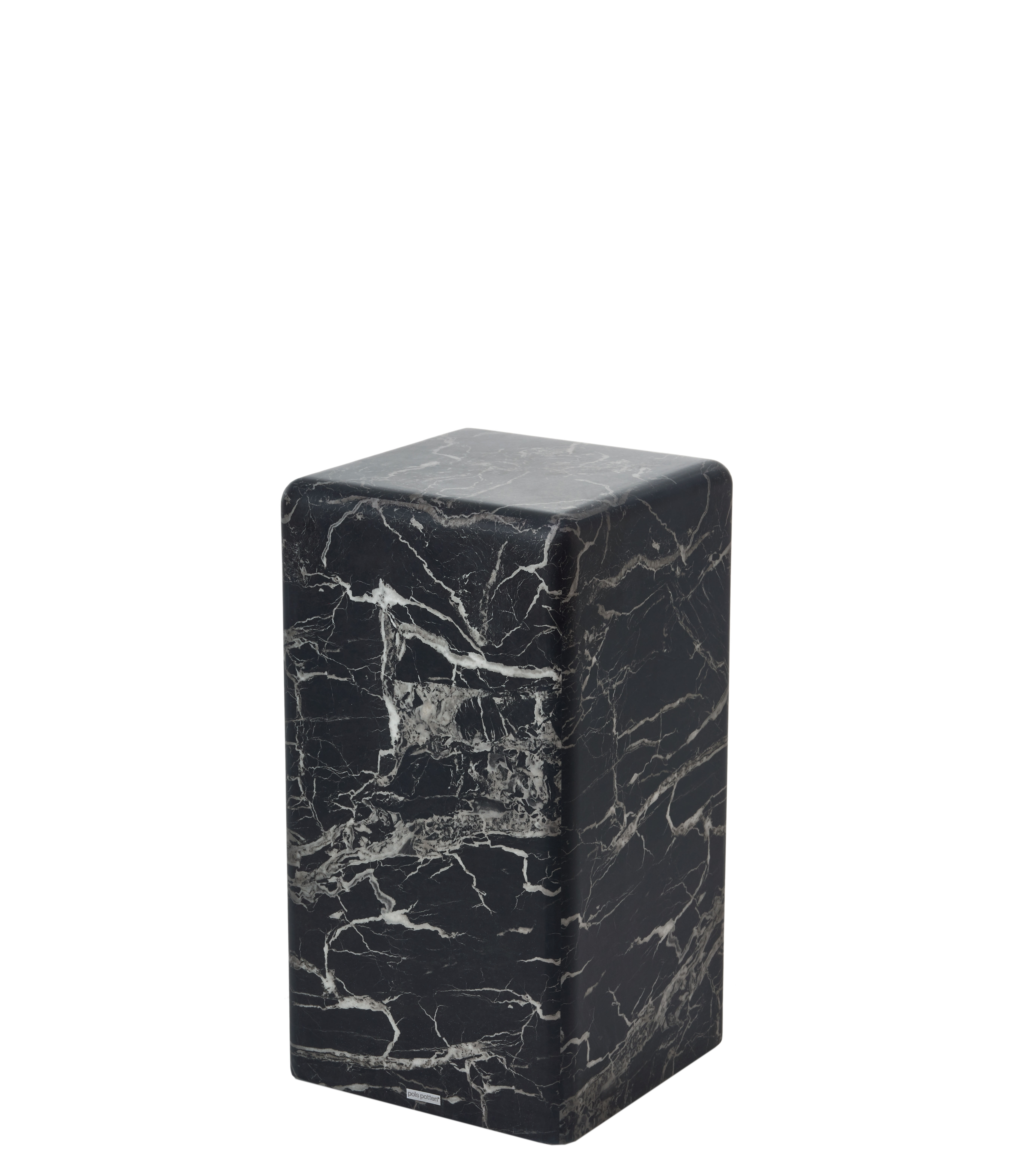 Furniture - Coffee Tables - Marble look Small End table - / H 61 cm - Marble effect by Pols Potten - Black - MDF, Resin