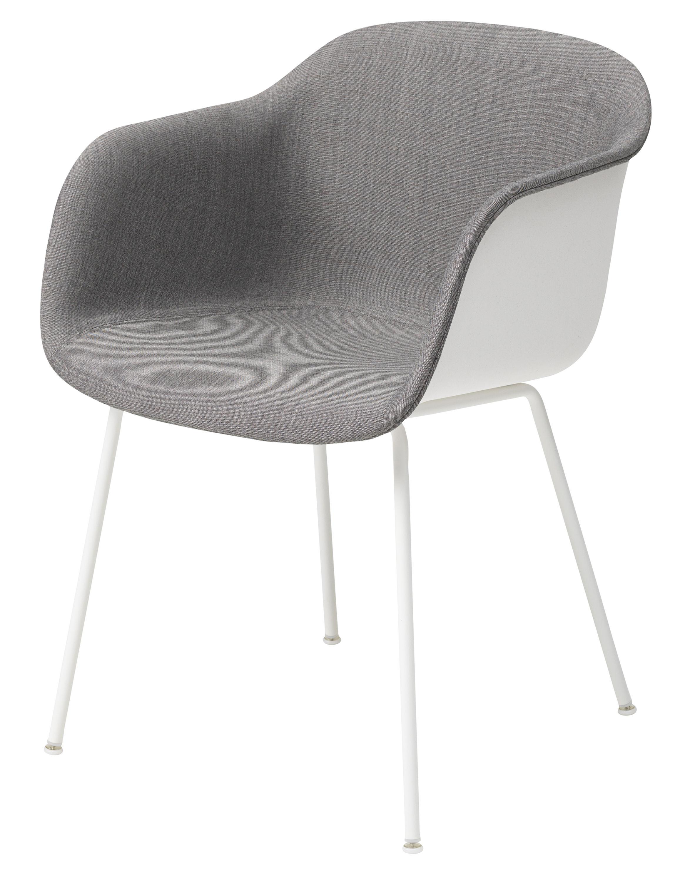 Möbel - Stühle  - Fiber Gepolsterter Sessel / mit 4 Stuhlbeinen - Muuto - Weiß / innen grau - Kvadrat-Gewebe, Recyceltes Verbundmaterial, Stahl