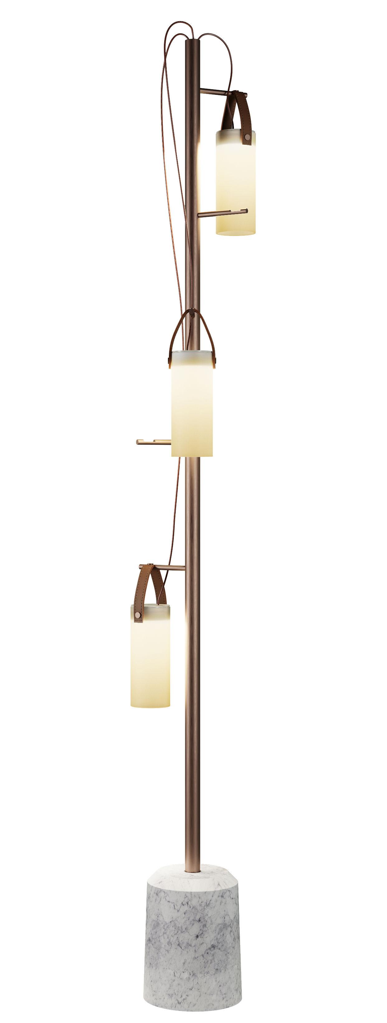 Luminaire - Lampadaires - Lampadaire Galerie LED / Base marbre - H 190 cm - Fontana Arte - Bronze & blanc - Cuir naturel, Marbre, Métal brossé, Verre soufflé