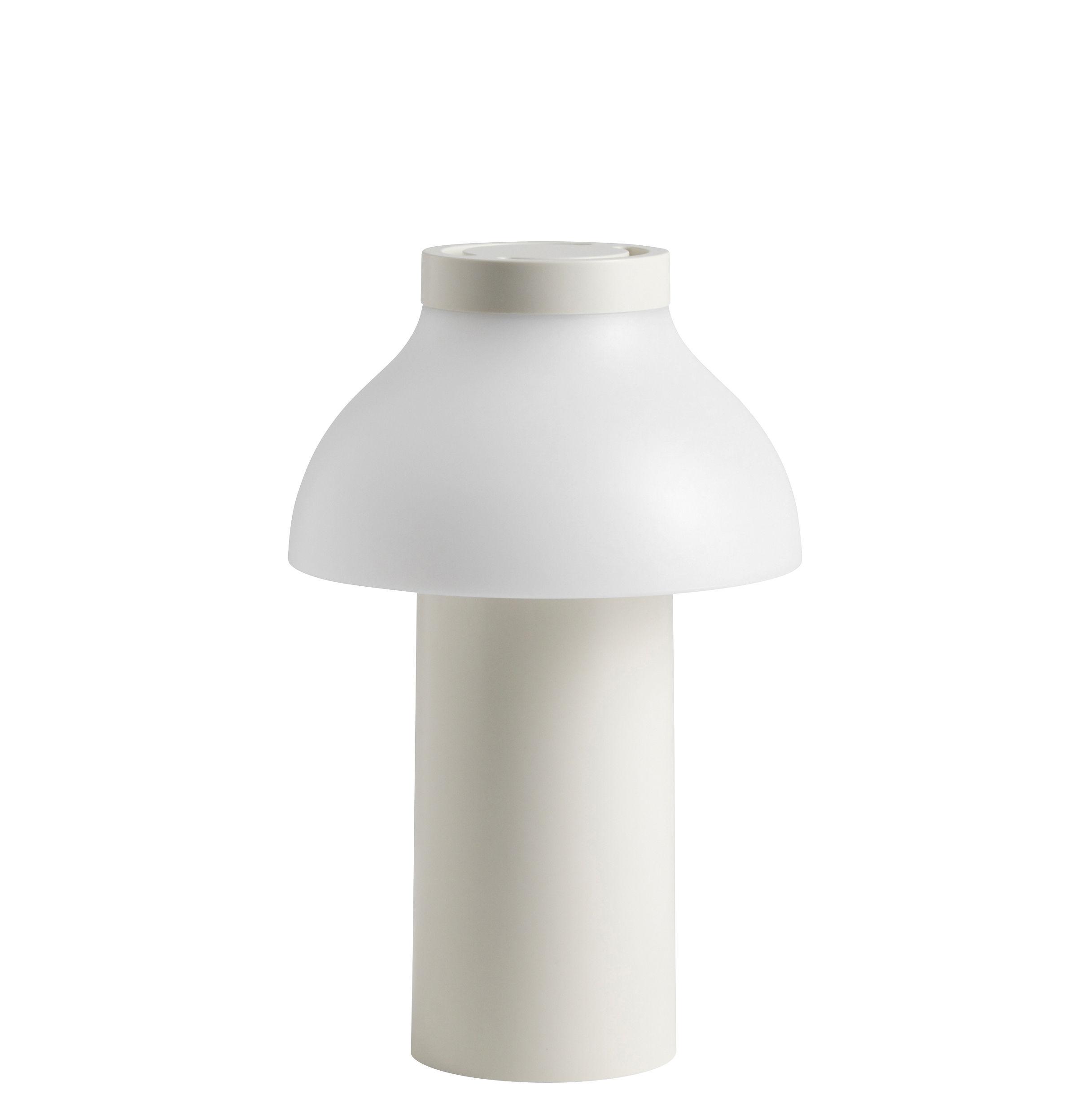 Leuchten - Tischleuchten - PC Portable LED Lampe ohne Kabel / outdoorgeeignet - Aufladen über USB-Port - Hay - Cremefarben - Polyäthylen