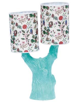 Leuchten - Tischleuchten - Y&M Lampe / mit 2 Lampenschirmen - Domestic - Baumstamm blau / 2 Lampenschirme mit Herbstmotiven - Coton sérigraphié, emailliertes Terrakotta