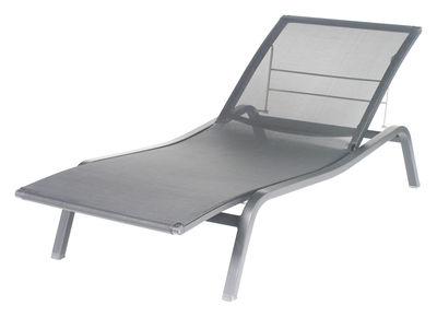 Outdoor - Sedie e Amache - Lettino da sole Alizé - larg 80 cm / 3 posizioni di Fermob - Grigio metallo - Alluminio laccato, Tela poliestere