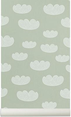 Déco - Stickers, papiers peints & posters - Papier peint Cloud / 1 rouleau - Larg 53 cm - Ferm Living - Vert d'eau - Toile intissée