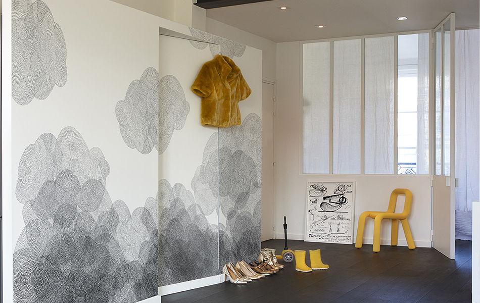 papier peint cloudy bien fait blanc noir made in design. Black Bedroom Furniture Sets. Home Design Ideas