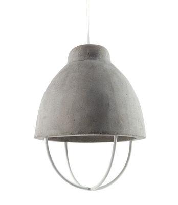 Lighting - Pendant Lighting - Feeling Pendant - Concrete & metal by Serax - Grey concrete / White metal - Painted metal, Raw concrete