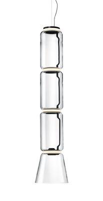 Lighting - Pendant Lighting - Noctambule Cône n°3 Pendant - / LED - Ø 36 x H 172 cm by Flos - H 172 cm / Transparent - Blown glass, Cast aluminium, Steel