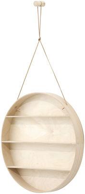 Möbel - Regale und Bücherregale - The Round Dorm Regal / Ø 55 cm - Ferm Living - Holz natur - Birkenholzfurnier, Buchenfurnier, Leder