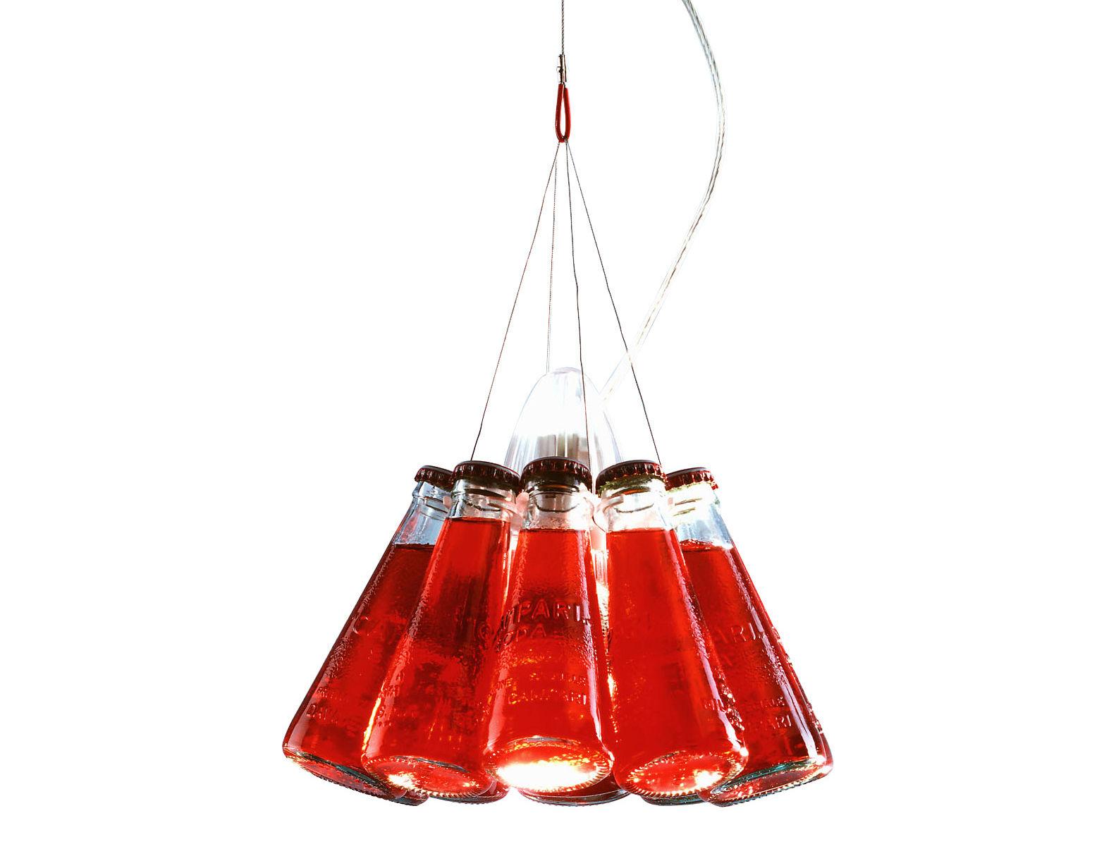Illuminazione - Lampadari - Sospensione Campari Light - L 400 cm di Ingo Maurer - Rosso - Metallo, Vetro