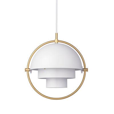Illuminazione - Lampadari - Sospensione Multi-Lite Small - / Ø 25 cm - Modulabile & orientabile / Riedizione 1972 di Gubi - Cerchio bianco / ottone - Metallo