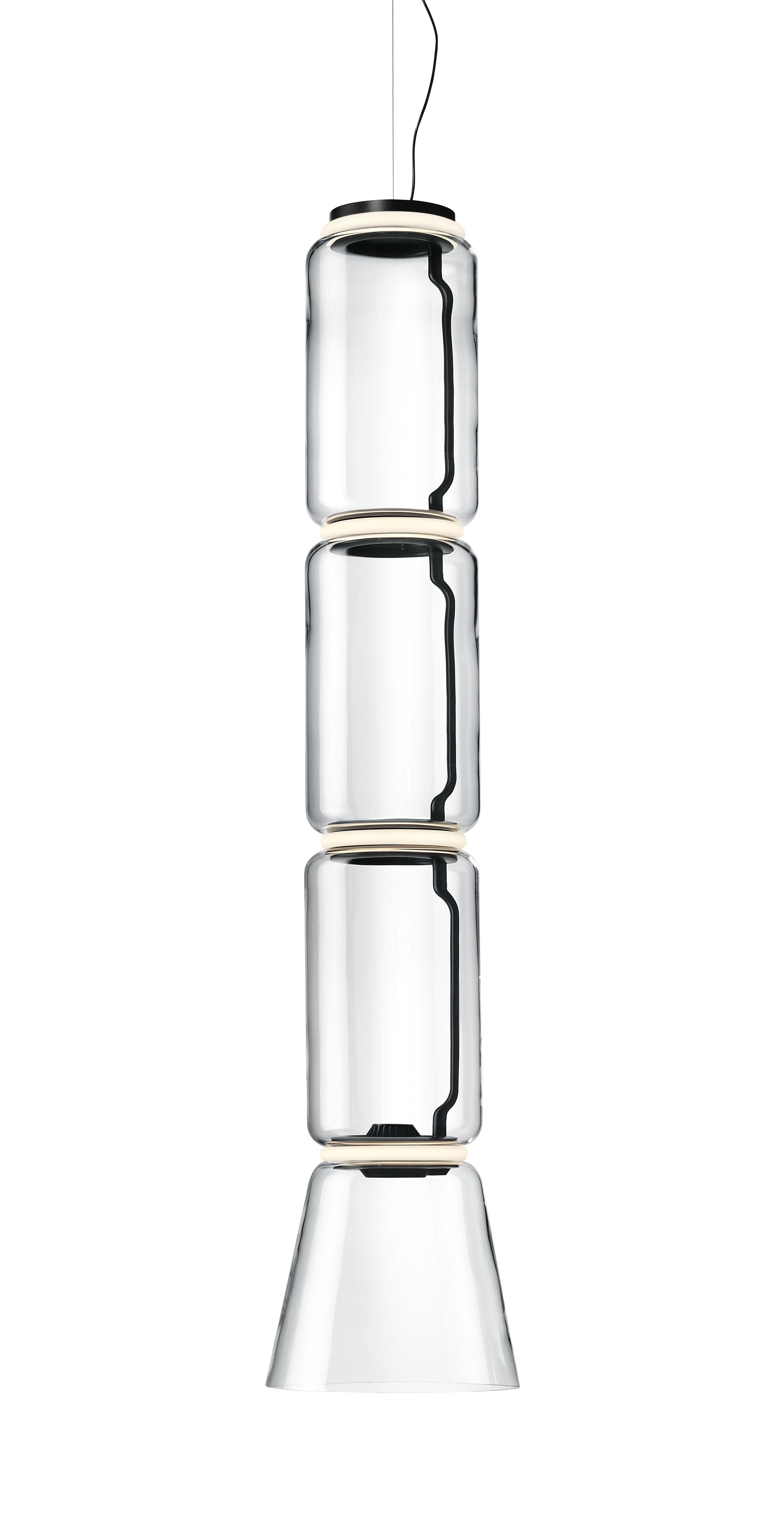 Luminaire - Suspensions - Suspension Noctambule Cône n°3 / LED - Ø 36 x H 172 cm - Flos - H 172 cm / Transparent - Acier, Fonte d'aluminium, Verre soufflé
