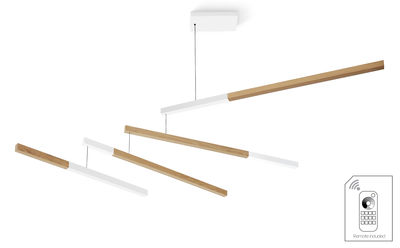 Suspension Tasso Nez Dimmable LED / Chêne - L 155 cm - Presse citron blanc,chêne clair en bois