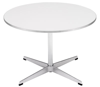 Mobilier - Tables basses - Table basse Coffee table series - A 222 Ø 75 cm - Fritz Hansen - Blanc - Aluminium, Linoléum
