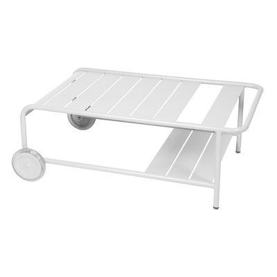Mobilier - Tables basses - Table basse Luxembourg / Avec roues - 105 x 65 cm - Fermob - Blanc coton - Aluminium