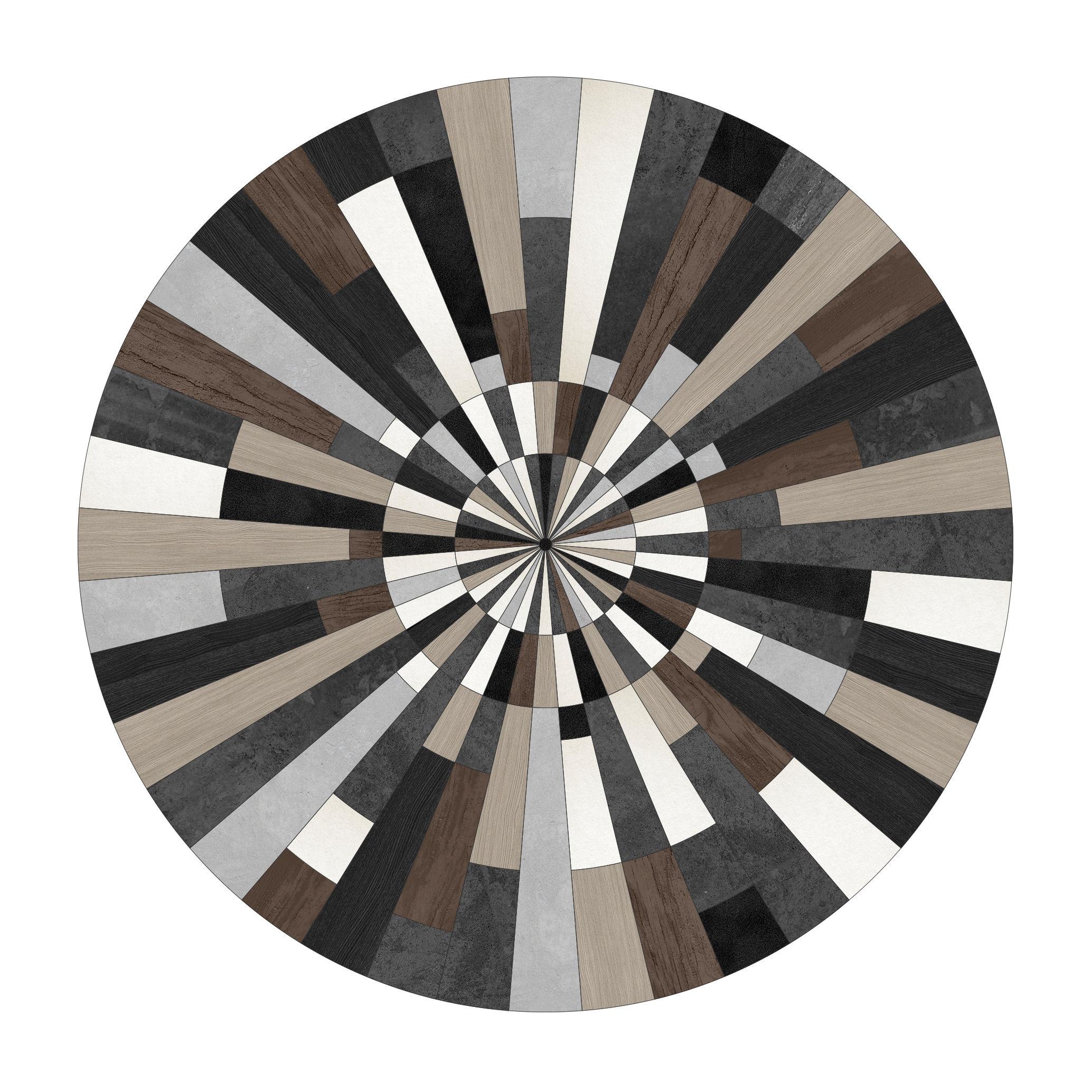 Outdoor - Decorazioni e accessori - Tappeto Fragments - / Ø 145 cm - Vinile di PÔDEVACHE - Frammenti / Beige & marrone - Vinile