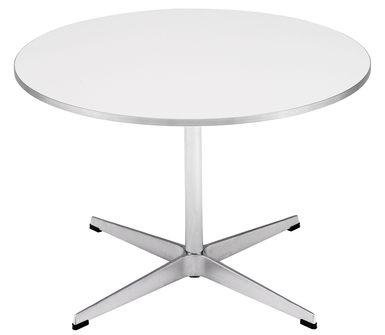 Arredamento - Tavolini  - Tavolino Coffee table series - A 222 - Ø 75 cm di Fritz Hansen - Bianco - Alluminio, Linoleum