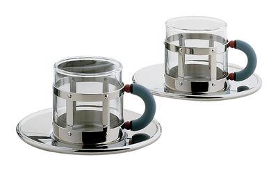 Tavola - Tazze e Boccali - Tazzina da caffè Graves - Set 2 tazze + 2 piattini di Alessi - Lucido brillante - Acciaio inossidabile, Poliammide, Vetro