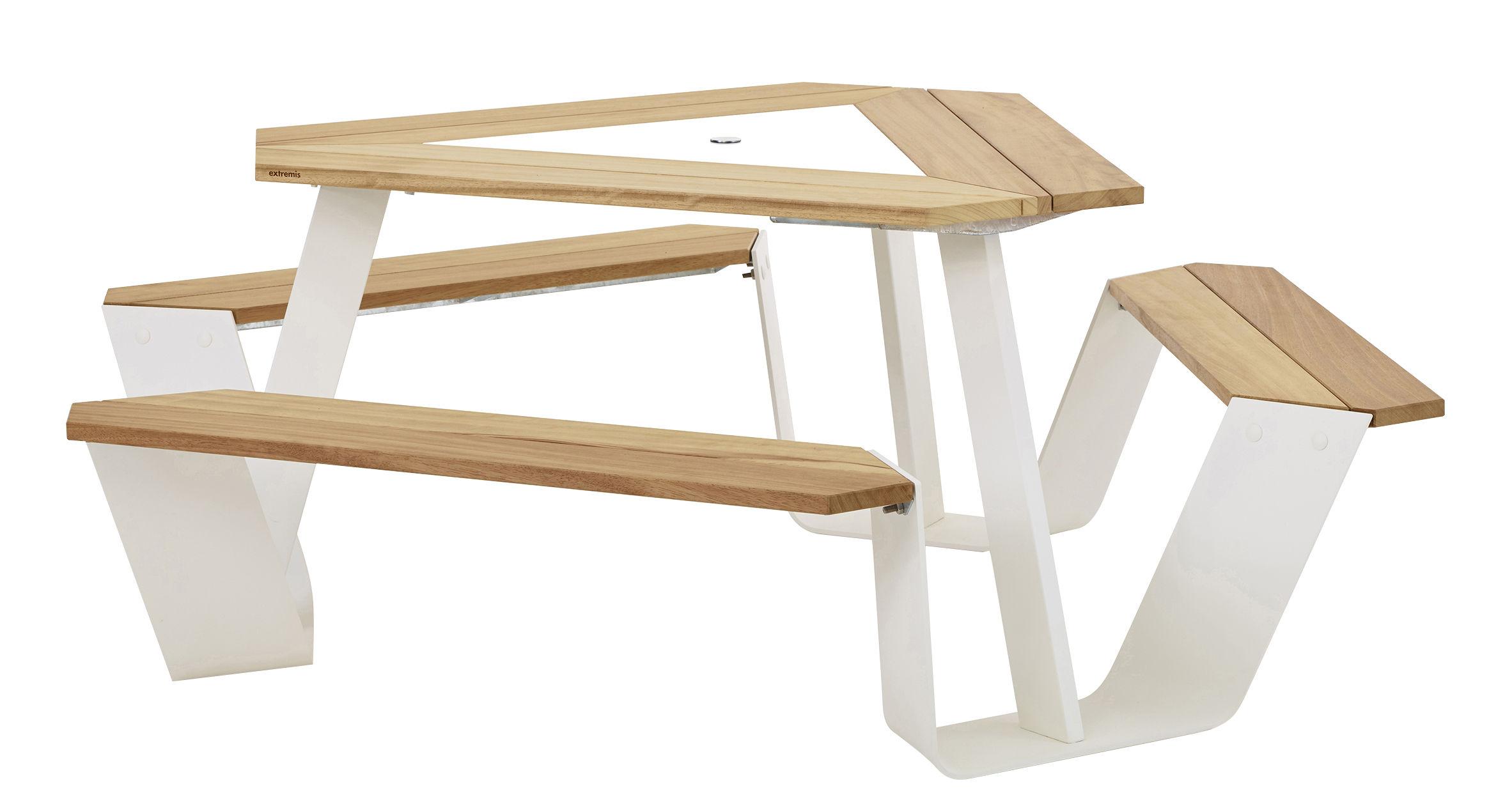 Möbel - Tische - Anker Tisch und Sitzgarnitur / Ø 216 cm - für 6 Personen - Extremis - Weiß / helles Holz / Mittelelement der Tischplatte weiß - Aluminium thermolaqué, Iroko Holz, thermolackierter Stahl