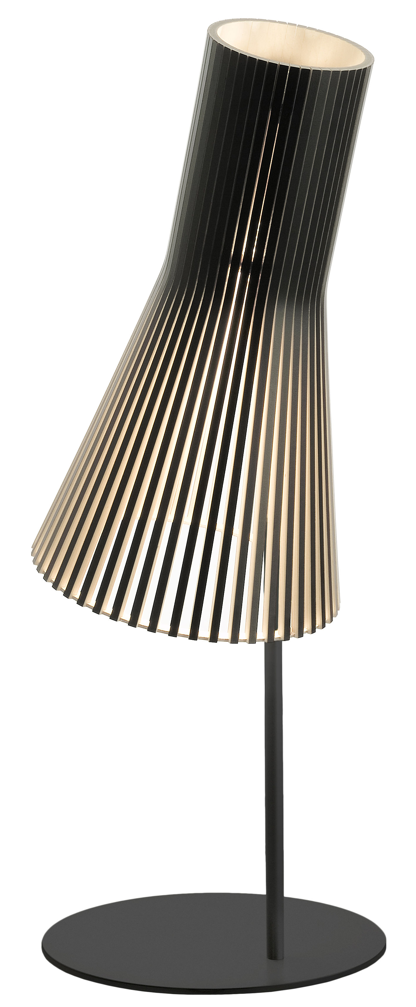 Leuchten - Tischleuchten - Secto Tischleuchte / H 75 cm - Secto Design - Schwarz / Gestell schwarz - Birkenlatten, Metall