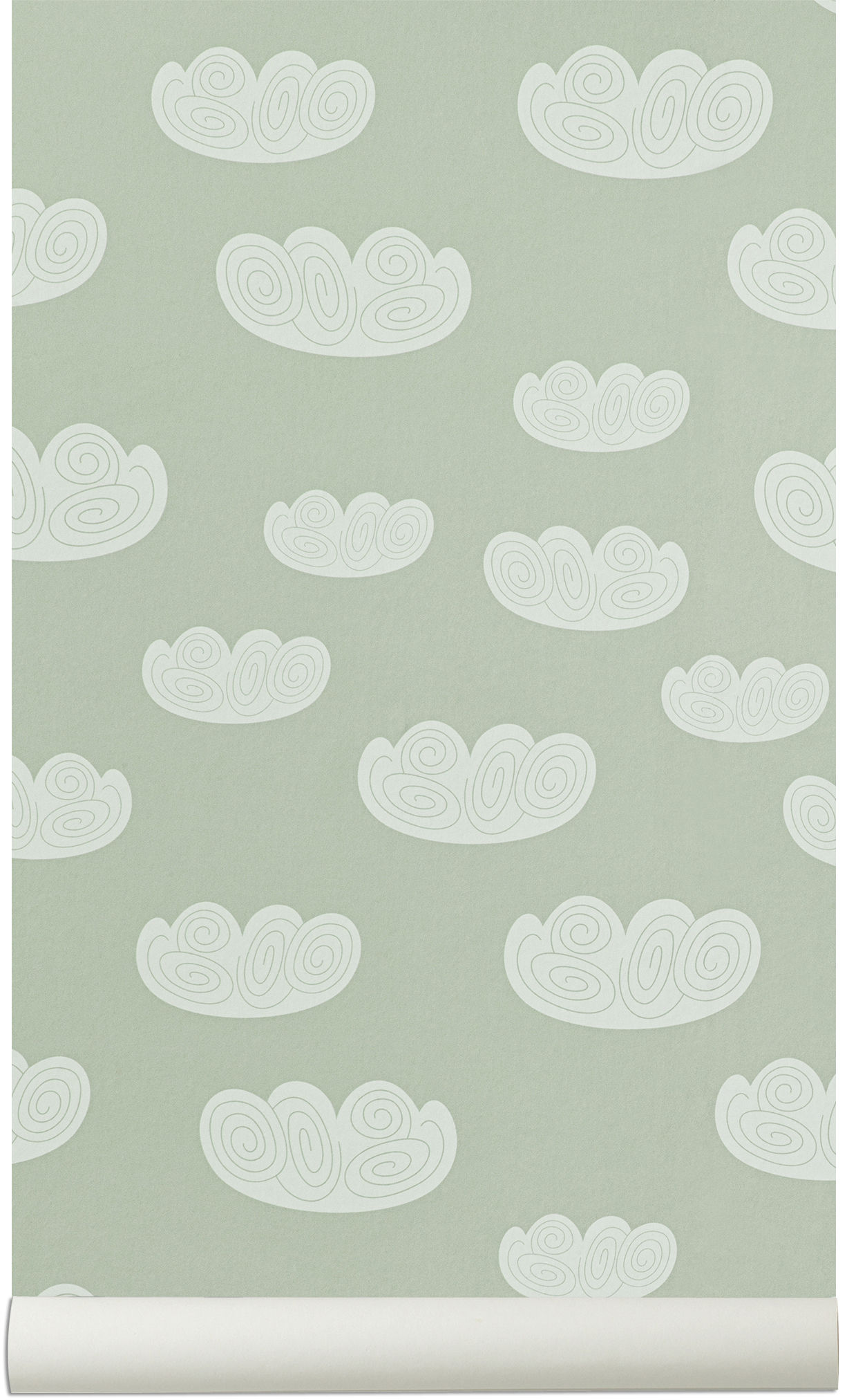 Decoration - Wallpaper & Wall Stickers - Cloud Wallpaper by Ferm Living - Mint - Non-woven fabric