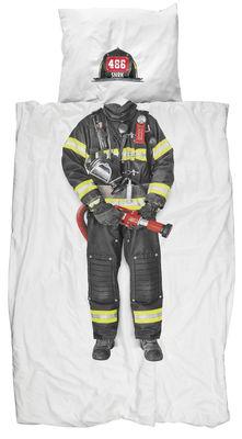Dekoration - Für Kinder - Feuerwehrmann Bettwäsche-Set / 2-teilig - 140 x 200 cm - Snurk - Feuerwehrmann - Baumwollperkal