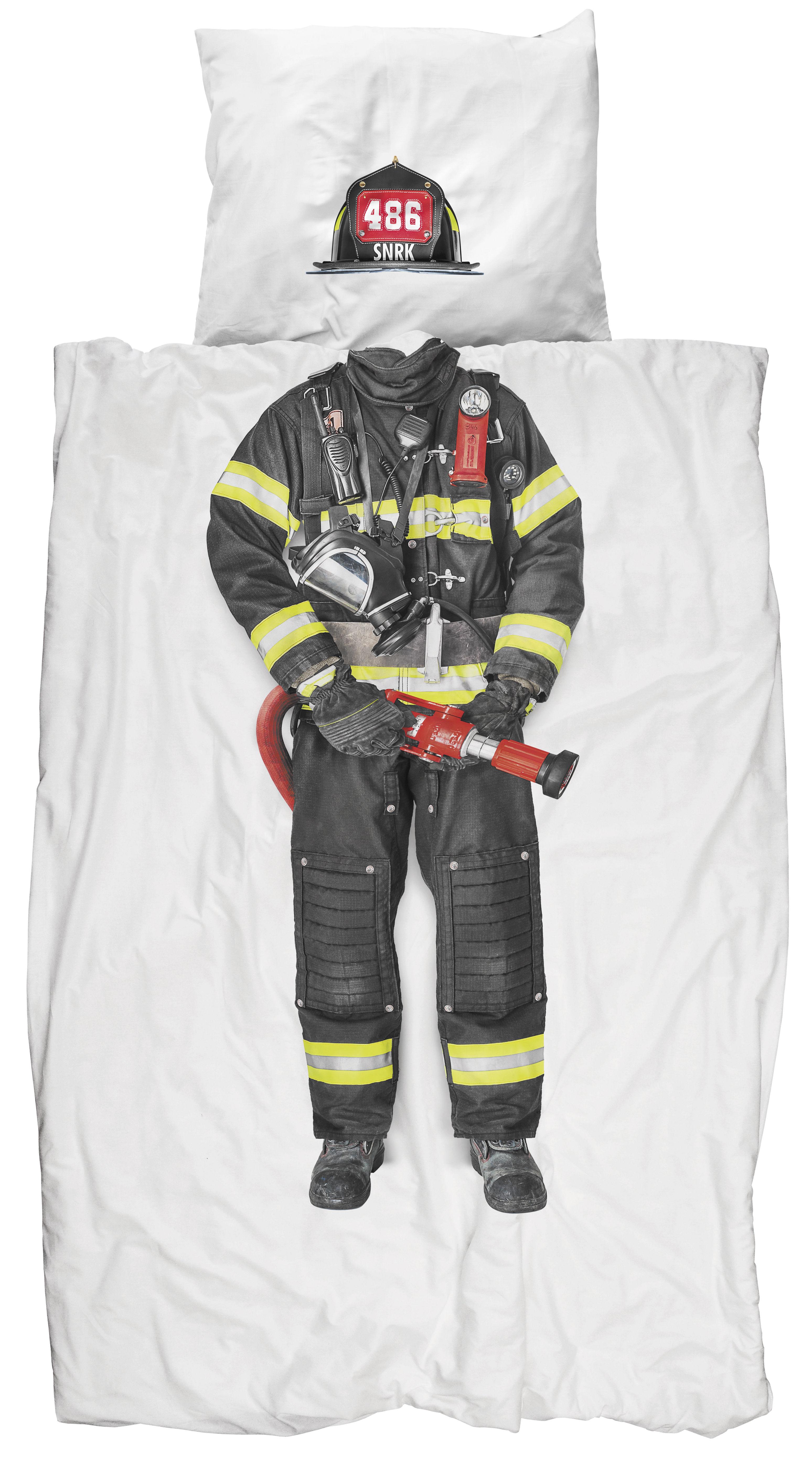 Interni - Per bambini - Biancheria da letto 1 persona Pompier - / 1 persona - 140 x 200 cm di Snurk - Pompiere - Percalle di cotone