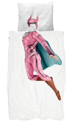Interni - Per bambini - Biancheria da letto 1 persona Super Hero Fille - / 140 x 200 cm di Snurk - Super eroe / Rosa - Percalle di cotone