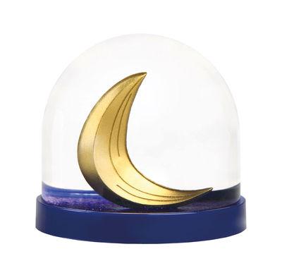 Boule à neige / Lune - & klevering bleu,jaune en matière plastique