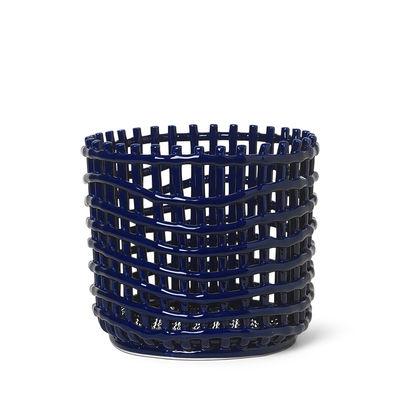 Interni - Cestini e Centrotavola  - Cesto Ceramic Large - / Ø 23,5 x H 21 cm - Fatto a mano di Ferm Living - Blu - Ceramica