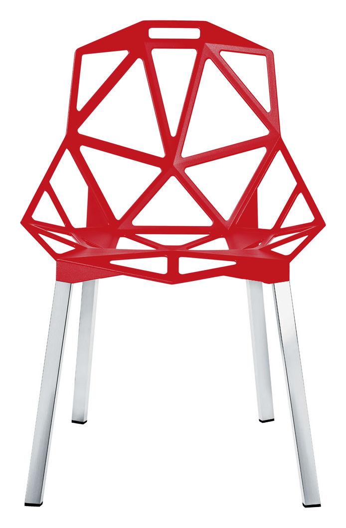 Mobilier - Chaises, fauteuils de salle à manger - Chaise empilable Chair one / Métal - Magis - Rouge / Pieds  aluminium - Aluminium anodisé poli, Fonte d'aluminium verni