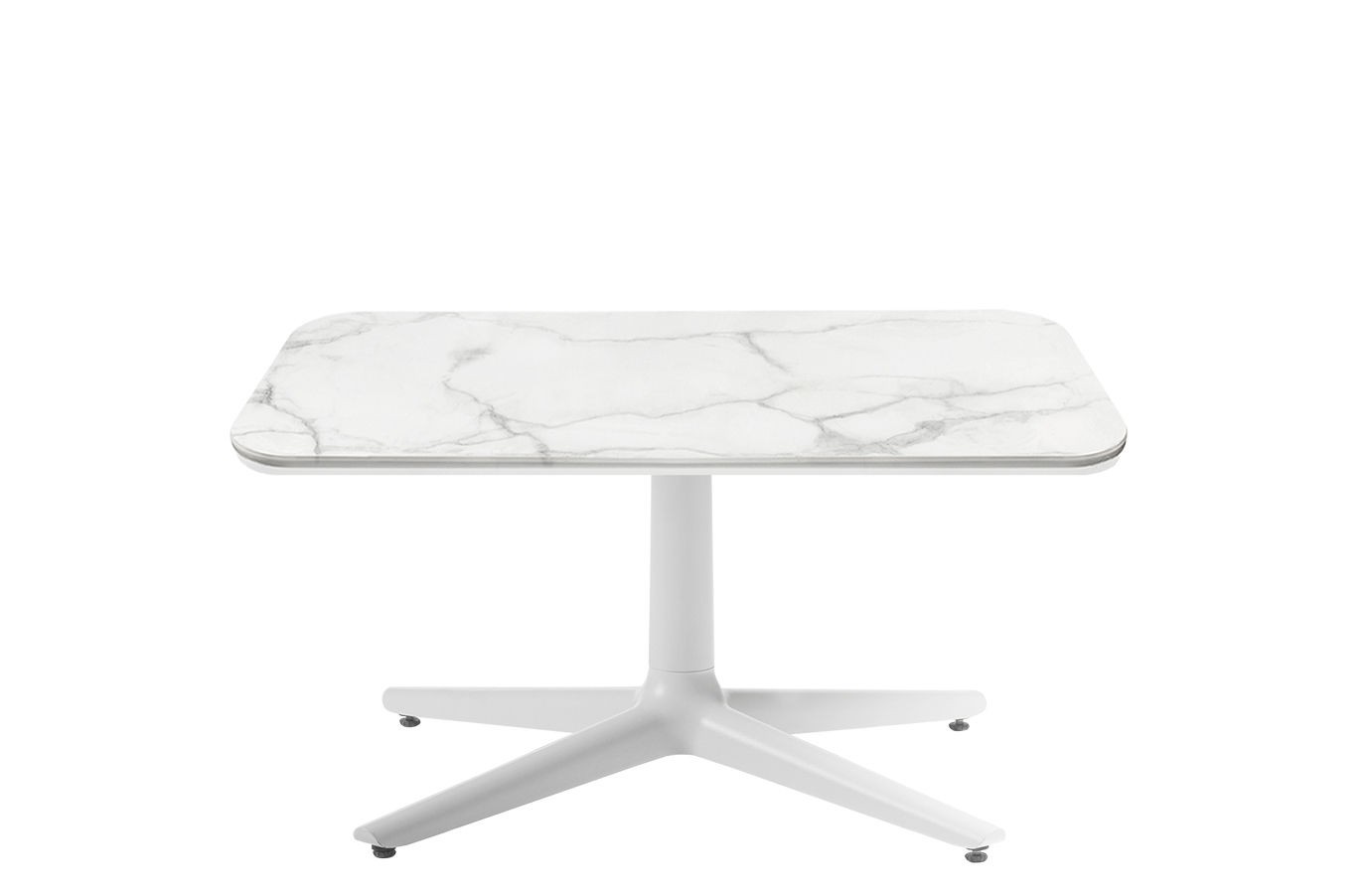 Furniture - Coffee Tables - Multiplo indoor/outdoor - Coffee table - / Marble effect - 99 x 99 cm by Kartell - White - Stoneware with marble effect, Varnished aluminium