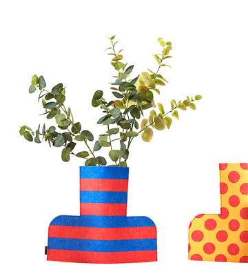 Image of Copertura per vaso Flower Power Large - / H 35 cm - Feltro di Sancal - Blu/Giallo/Rosso/Multicolore - Tessuto