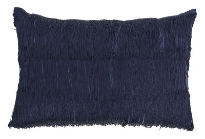 Interni - Cuscini  - Cuscino - / 60 x 40 cm - Frange di Bloomingville - Bleu indigo - Cotone