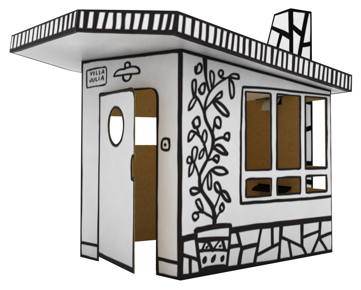 Furniture - Kids Furniture - Villa Julia Den by Magis Collection Me Too - Black & white - Cardboard