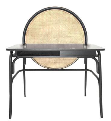 Furniture - Office Furniture - Allegory Desk - / Teak & wood - L 100 cm by Wiener GTV Design - Black / Natural straw - Curved solid ash, Curved solid beechwood, Straw