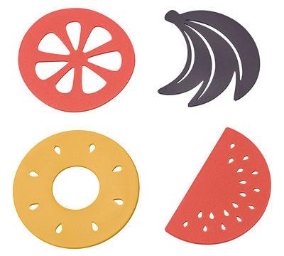 Jardin - Déco et accessoires de jardin - Dessous de plat Corbeille de fruits / Lot de 4 - Métal - Fermob - Miel / Prune / Capucine - Acier peint