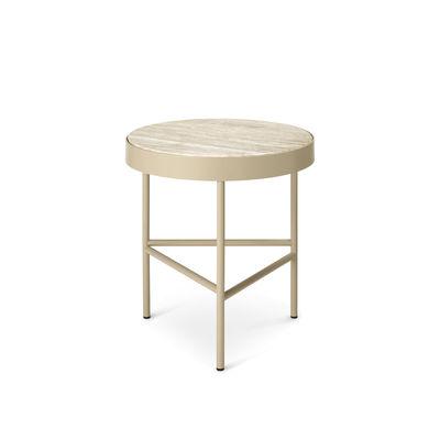 Furniture - Coffee Tables - Travertine End table - / Medium - Ø 40 x H 45 cm by Ferm Living - Beige Travertine stone / Cashmere beige base - Powder coated steel, Travertine