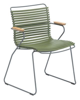 Mobilier - Chaises, fauteuils de salle à manger - Fauteuil Click / Plastique & accoudoirs bambou - Houe - Vert olive - Bambou, Matière plastique, Métal