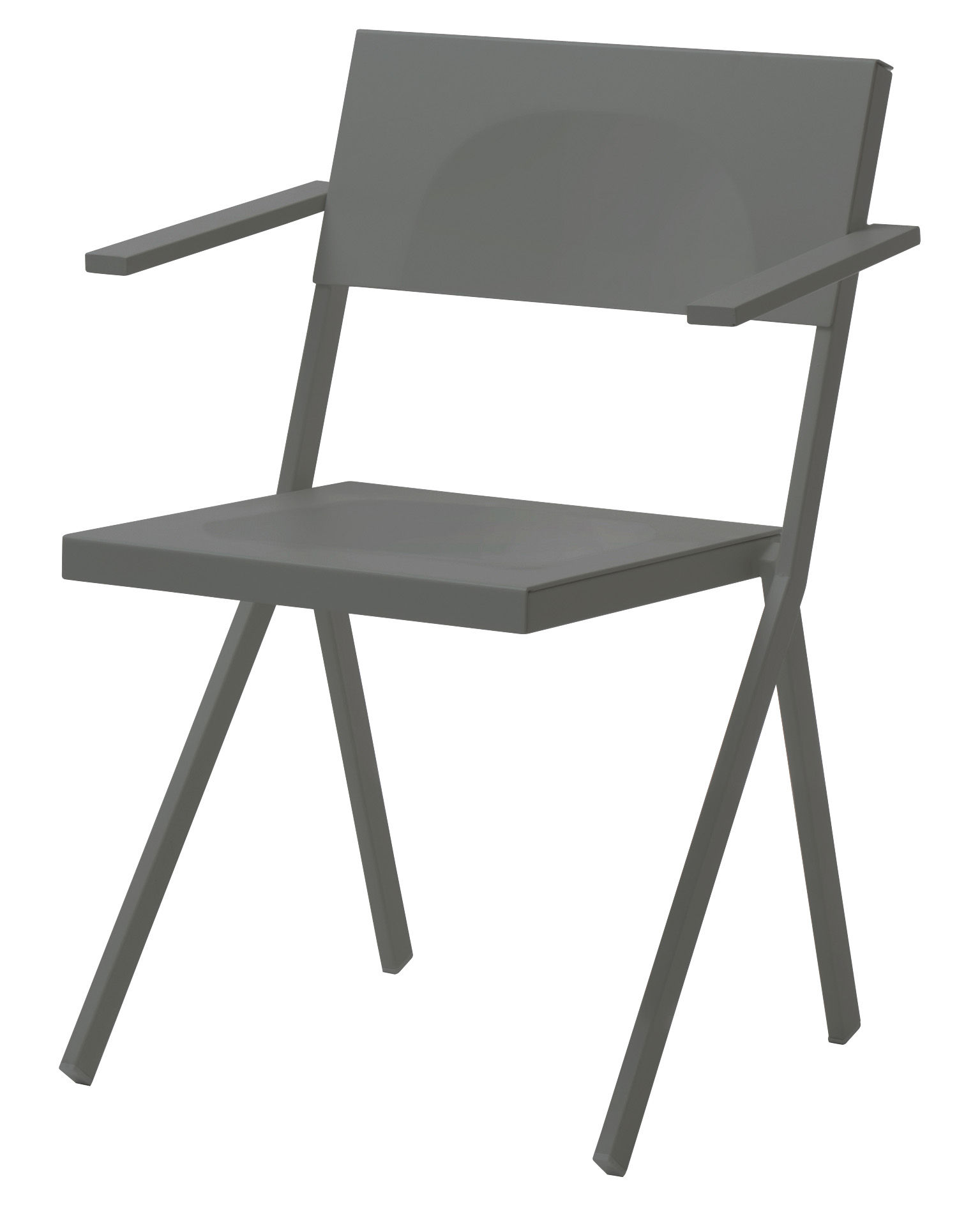 Mobilier - Chaises, fauteuils de salle à manger - Fauteuil empilable Mia / Métal - Emu - Gris - Acier, Aluminium