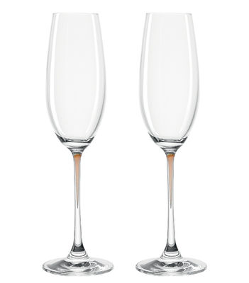 Flûte à champagne La Perla / Set de 2 - Leonardo marron/transparent en verre
