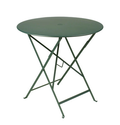 Outdoor - Garden Tables - Bistro Foldable table - Ø 77cm - Foldable - With umbrella hole by Fermob - Cedar green - Lacquered steel