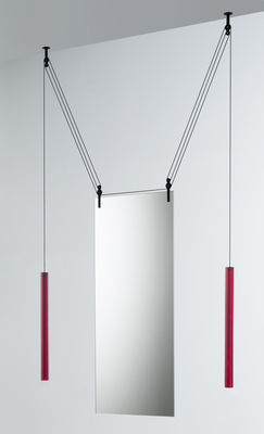 Decoration - Mirrors - Palanco Hanging mirror - Adjustable - Double face - H 125 cm by Glas Italia - Red counterweight - Glass, Tinted aluminium