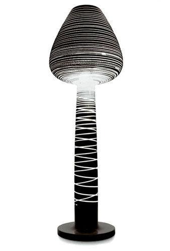 Luminaire - Lampadaires - Lampadaire Lady Mary / H 208 cm - Serralunga - Noir laqué rayé - Polyéthylène