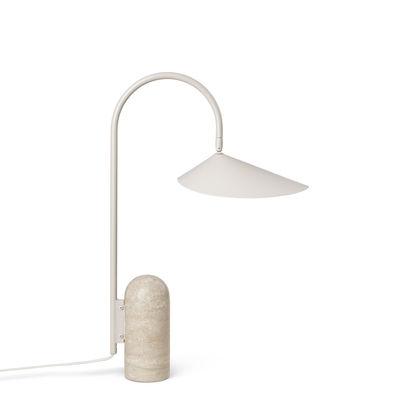 Luminaire - Lampes de table - Lampe de table Arum / Métal & pierre - Orientable - Ferm Living - Beige Cachemire - Acier laqué époxy, Pierre Travertin